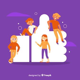 Gente joven con el símbolo de like