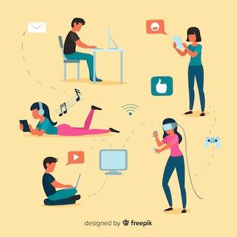 Gente joven usando dispositivos de tecnología
