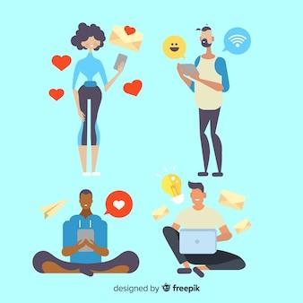 Gente joven utilizando dispositivos tecnológicos. varios diseños de personajes