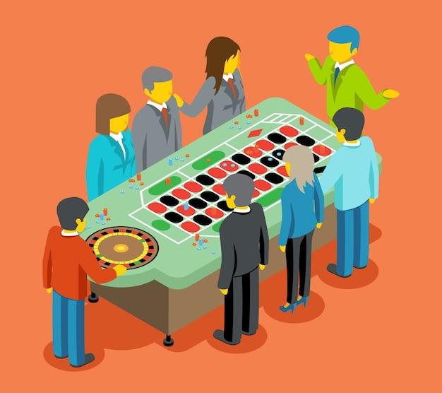 La gente juega en la mesa del casino en vista isométrica.