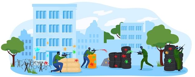 La gente juega paintball juego ilustración vectorial plana. equipo de personajes de jugador de dibujos animados con máscara jugando paintball, disparando con pistola marcadora. actividad de hobby