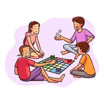 Gente jugando al juego de ludo