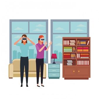 Gente jugando con gafas de realidad virtual