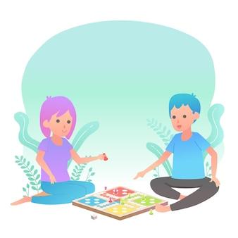 Gente jugando ilustración de juego de ludo