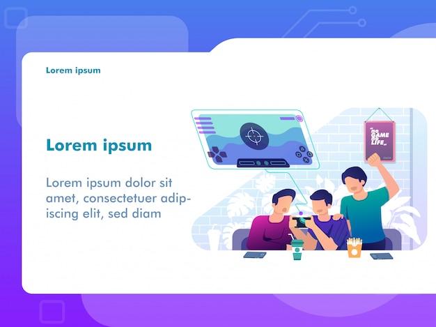 Gente jugando juegos móviles juntos. concepto de juego para ilustración web