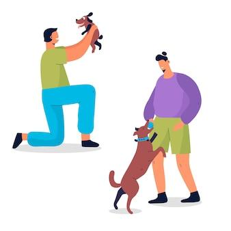 Gente jugando con su concepto de mascotas