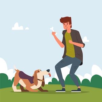 Gente jugando con sus mascotas