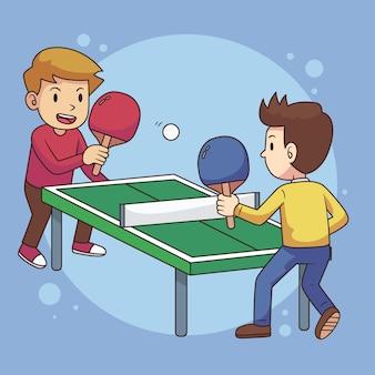 Gente jugando tenis de mesa ilustración