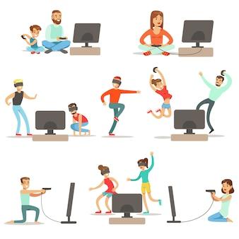 Gente jugando videojuegos con high tech technologies colección de personajes de dibujos animados felices