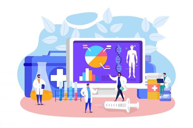 Gente de laboratorio de medicina innovadora, personaje de pequeño médico de dibujos animados que analiza datos en la pantalla de la computadora en el laboratorio