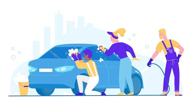 La gente lava la ilustración del coche. personajes de dibujos animados plano mujer hombre lavadora limpieza automóvil sucio, lavado automático con esponja y pompas de jabón. estación de servicio comercial de lavado de autos aislada