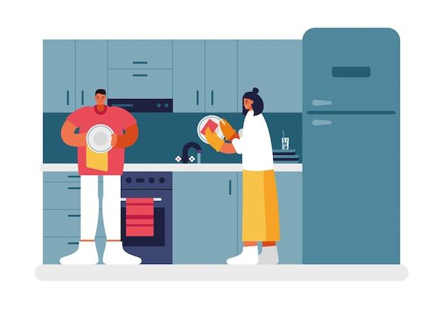 Gente lavando platos en la ilustración de la cocina. los personajes masculinos y femeninos lavan bien los platos con una esponja y los secan con una toalla. procedimientos de limpieza de la tarde hogar vector plano.
