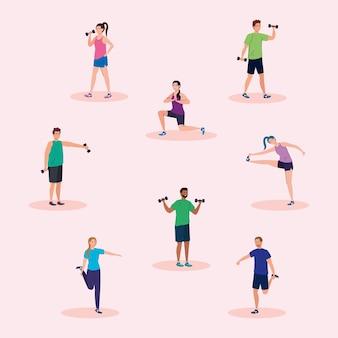 Gente levantando peso y diseño de estiramiento, deporte de gimnasio y tema de culturismo.