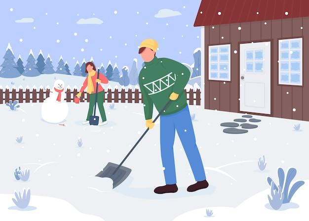 Gente limpiando nieve fuera de la casa color plano. actividad exterior. creando muñeco de nieve. encantadora pareja de personajes de dibujos animados en 2d con bosque cubierto de nieve en el fondo