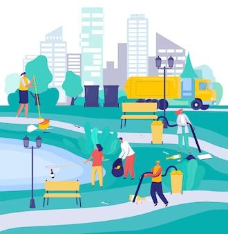 Gente limpiando el parque de la ciudad, ilustración de personajes de dibujos animados