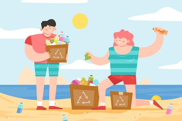 Gente limpiando playa de basura