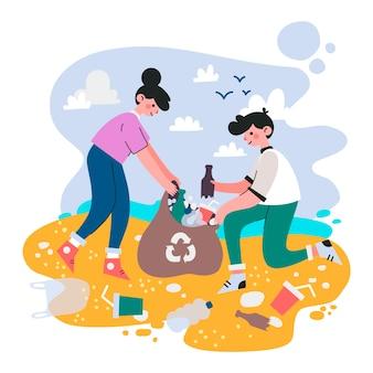 Gente limpiando playa juntos