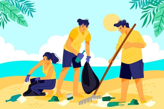Gente limpiando playa