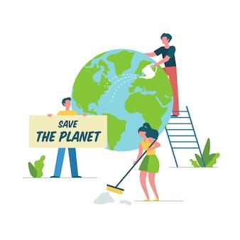 Gente limpiando y restaurando la tierra