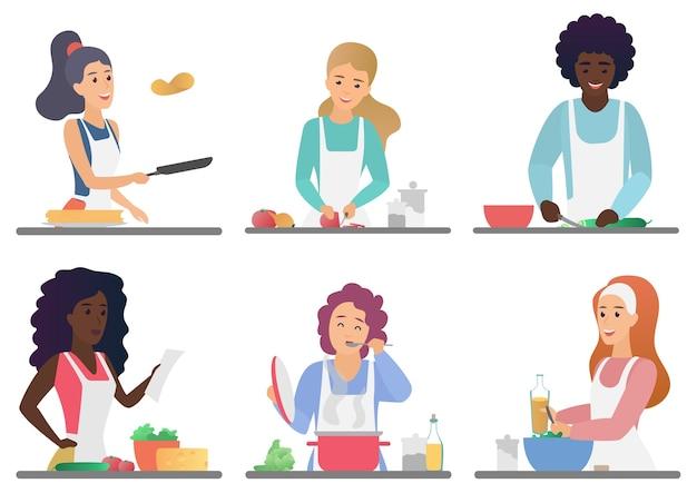 Gente linda feliz de dibujos animados cocinando conjunto aislado ilustración