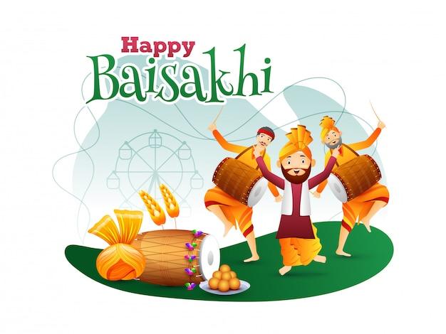 Gente linda de punjabi bailando mientras toca el tambor en el backg blanco