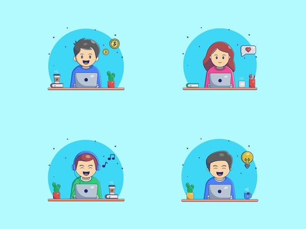 Gente linda trabaja desde casa dibujos animados vector icono ilustración. concepto de icono de personas y tecnología aislado vector premium. estilo de dibujos animados plana