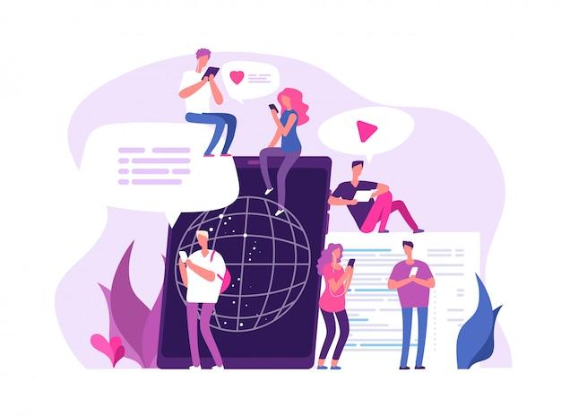 Gente en línea chateando. conexiones globales conversación de chat de medios comunicación de red amigo chat foro concepto de marketing