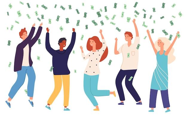 Gente con lluvia de dinero