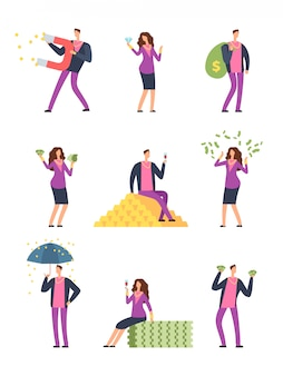Gente de lujo rica gastando dinero