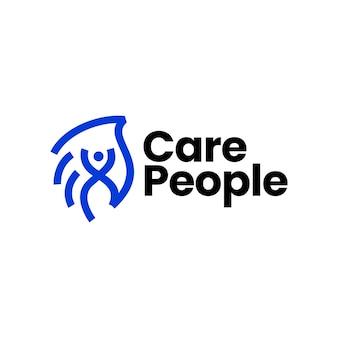 La gente de la mano ayuda a cuidar la ilustración del icono del vector del logotipo