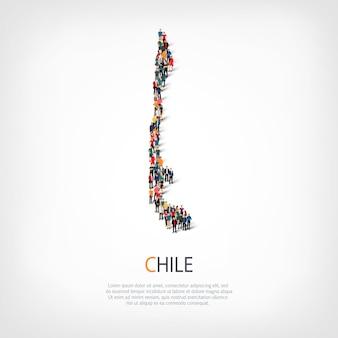 Gente mapa país chile