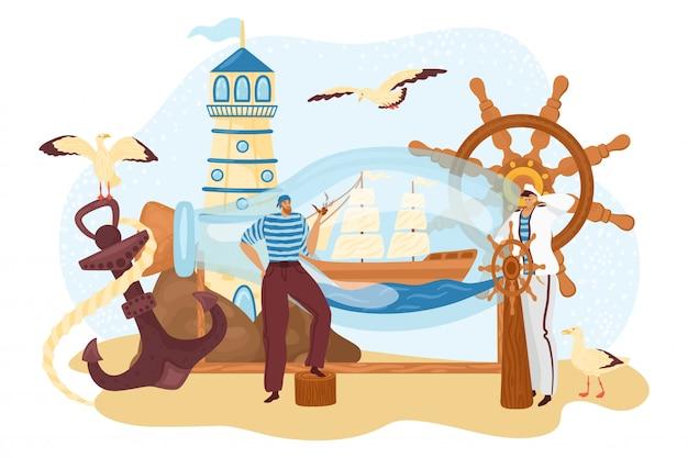Gente de marinero, marinero cerca de barco botella, capitán de crucero marino viaje en barco, ilustración. concepto de aventura de carácter de hombre náutico, ancla de vela y barco.