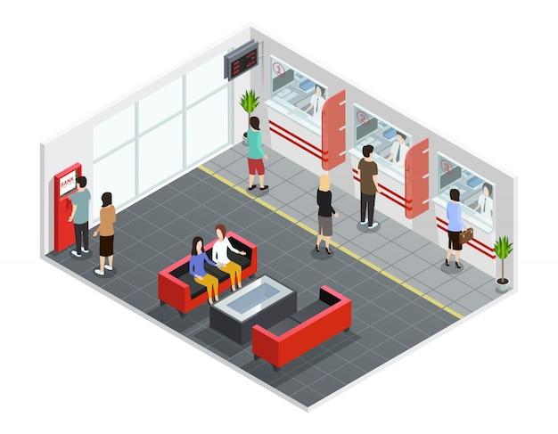 Gente masculina y femenina en la oficina del banco con contadores y cajeros automáticos ilustración vectorial isométrica