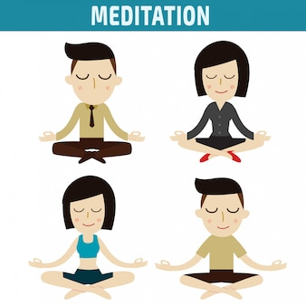 Gente de meditación diseño de personajes