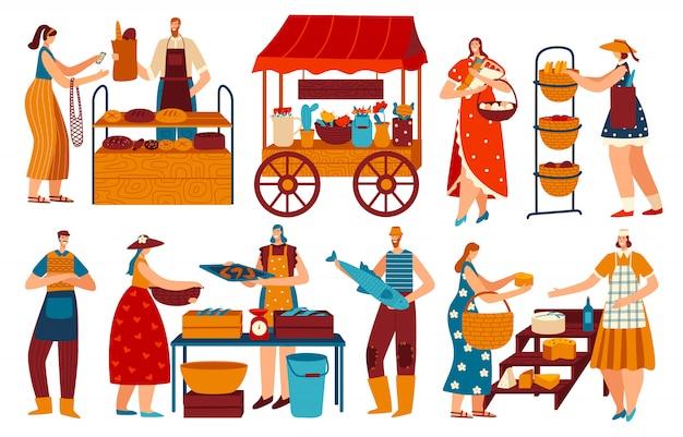Gente en el mercado, comprando y vendiendo comida local saludable, ilustración vectorial