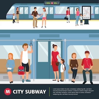 Gente en el metro de la ciudad dentro del tren y esperando en la estación de ilustración vectorial plana