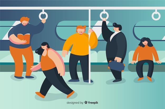 Gente en el metro diseño plano