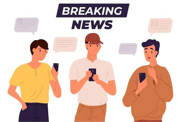 Gente mirando noticias de última hora por teléfono