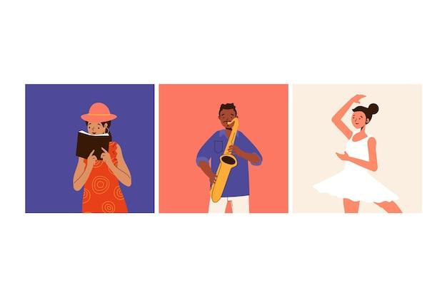 Gente moderna con actividades culturales tocando instrumentos
