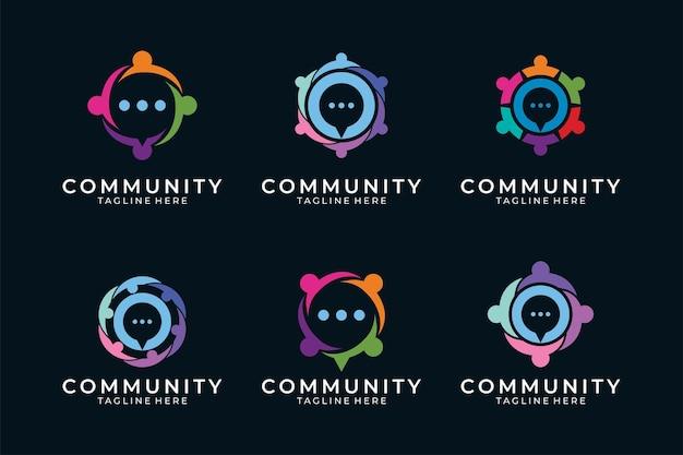 Gente moderna con burbuja de chat para el logotipo de la comunidad.