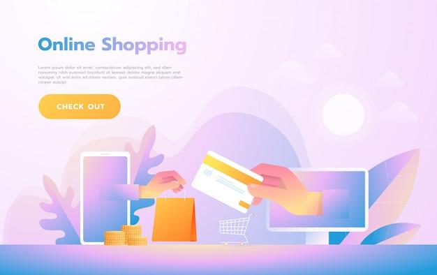 Gente moderna de diseño plano y concepto de negocio para m-commerce, fácil de usar y altamente personalizable. concepto de ilustración vectorial moderna.