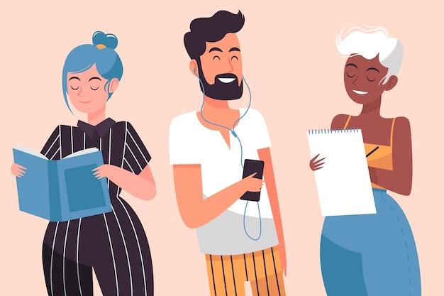 Gente moderna haciendo actividades culturales ilustradas