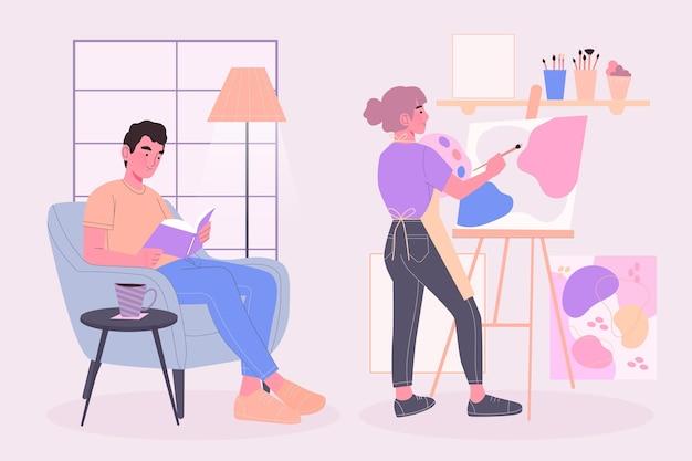 Gente moderna leyendo y pintando