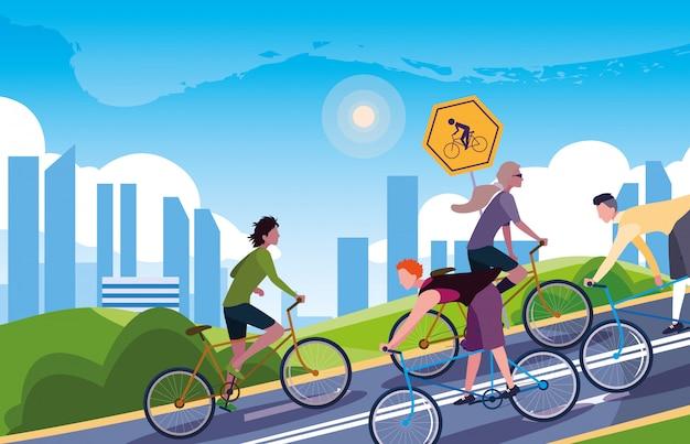 Gente montando bicicleta en paisaje urbano con señalización para ciclista