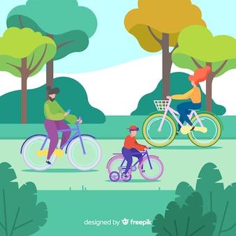 Gente montando en bicicleta en el parque