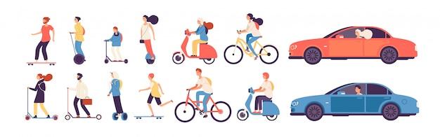 Gente montando. hombre mujer con vehículos eléctricos paseo moto monopatín scooter skate car bicicleta rodillo gyroscooter set