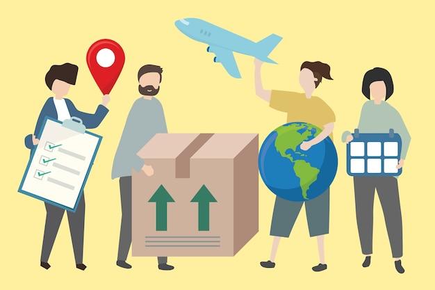 Gente mostrando métodos de envío mundial.