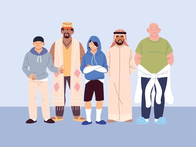 Gente multicultural, hombres con diferente ropa casual.
