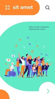 Gente multicultural de pie juntos aislados ilustración vectorial plana. dibujos animados de diversos personajes de miembros de la comunidad multinacional.
