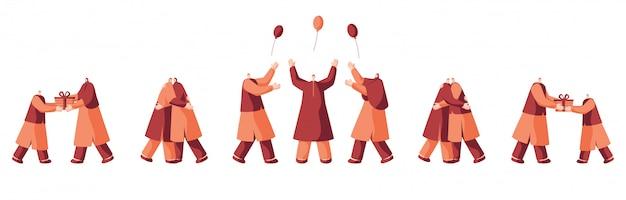 Gente musulmana en diferentes poses como abrazarse, caja de regalo dada, disfrutar con globos.